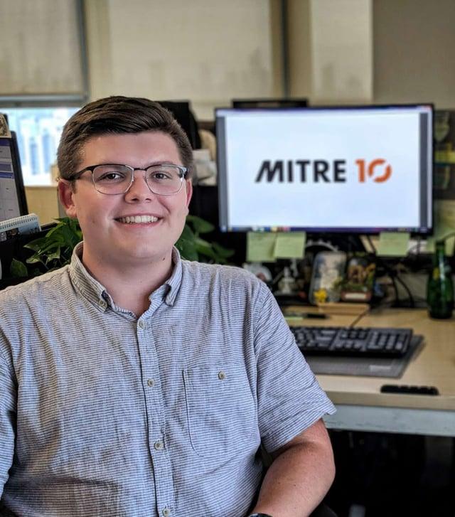 Kohle Feeley at his internship, Mitre 10