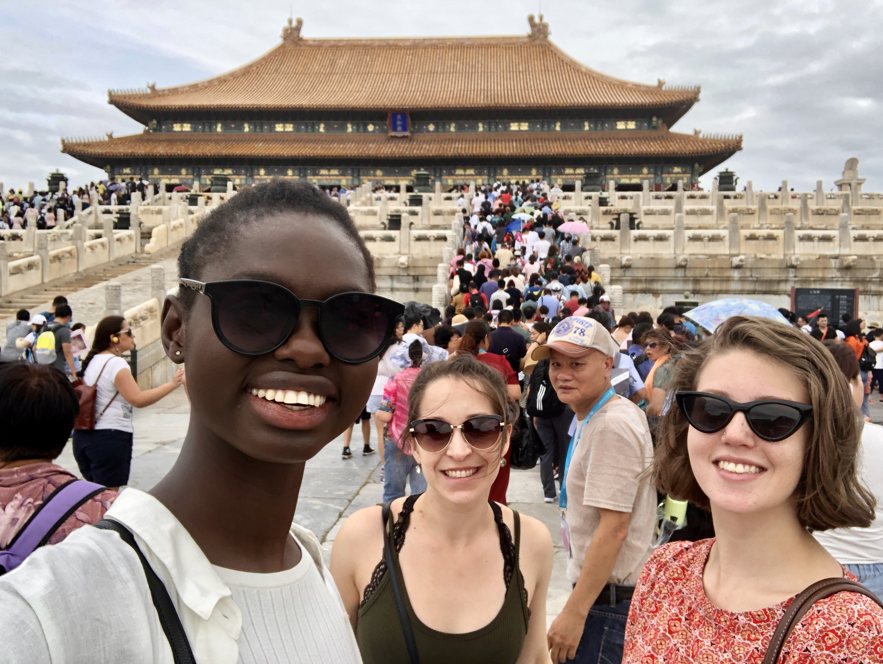Lauren, CAPA Vlogger for Shanghai, Sadie and I pose for a Selfie as we walk around inside the Forbidden City