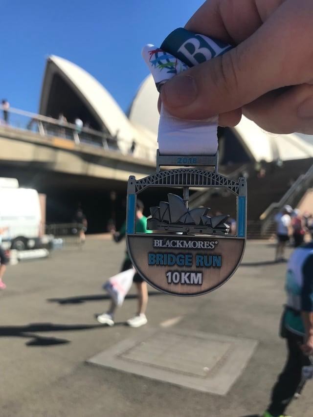 A marathon medal from the Blackmores Bridge Run in Sydney.