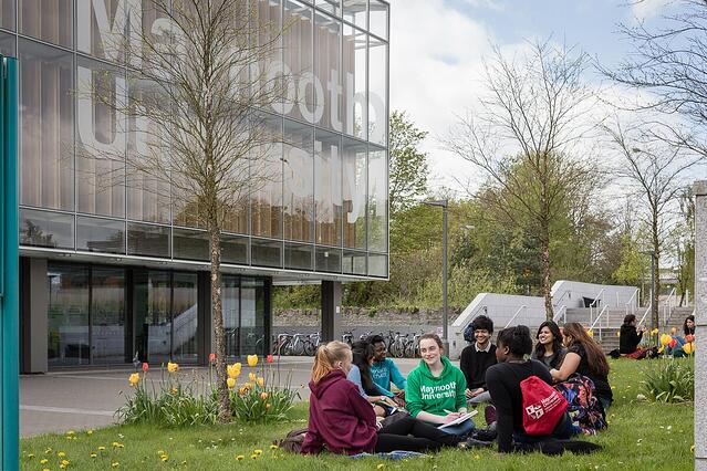 Students socializing on the quad at Maynooth University