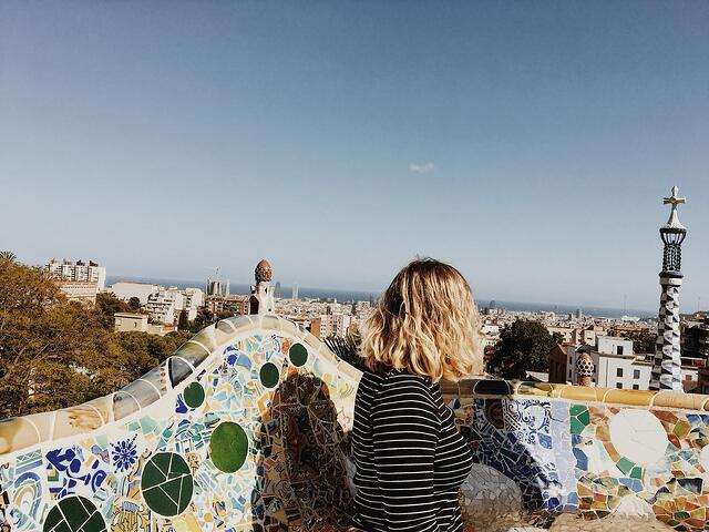 Student At Park Guell in Barcelona, Spain