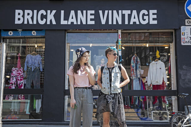 Queen Mary Students in front of Brick Lane Vintage