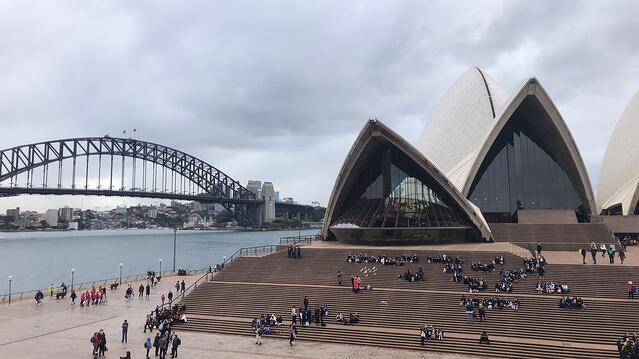 The Sydney Opera House with the Sydney Harbour Walk in the background.