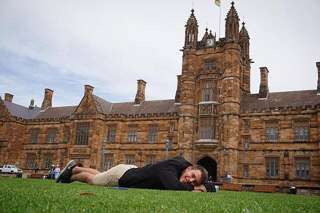 CAPAStudyAbroad_Sydney_Fall2017_From Hanna Okhrimchuk - Mitch Wesoly in front of University of Sydney.jpg
