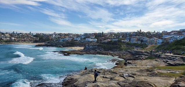 Beautiful view from a cliff overlooking Bondi Beach in Sydney