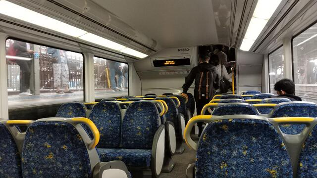 Inside of a train on Sydney's public transit