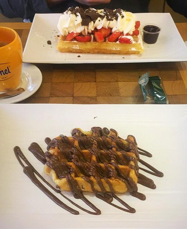 CAPAStudyAbroad_Fall2018_London_Christopher Halka_traveling to beligum and having a belgian waffle