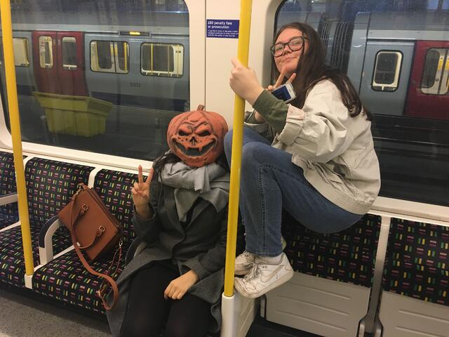 CAPAStudyAbroad_Fall2018_London_Genevieve Rice_ On the Tube on the Way Home from CAPA Fright Night