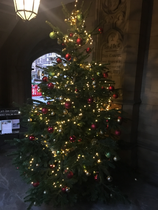 Christmas trees are hidden throughout the city—this one at Lincoln Inn