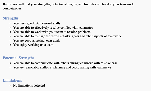 Results from a strengths finder quiz Savanna and her class took as part of the Global Internship Course.