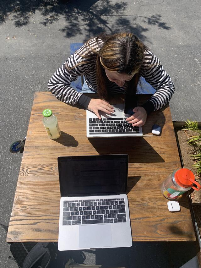 Caption: Once COVID-19 restrictions started to ease up in Los Angeles, my roommate and I would visit cafes on our busiest days to be able to do work outside our apartment.