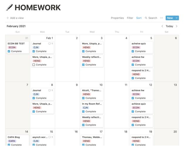 My homework list.