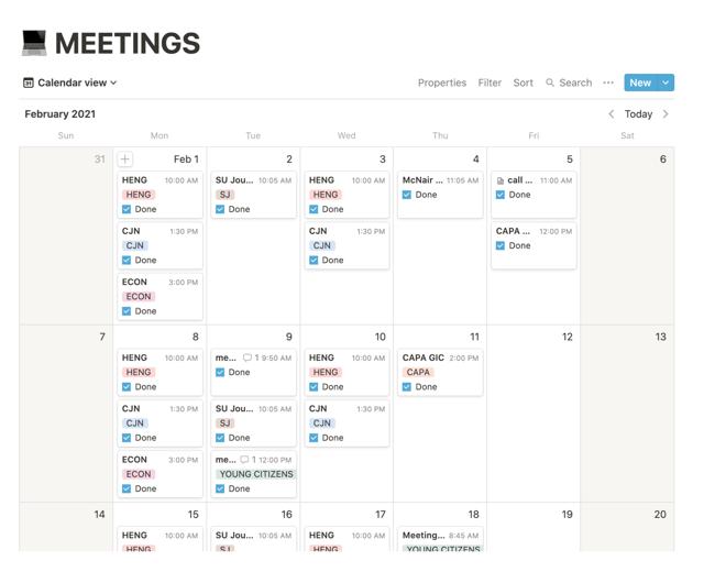 My list of meetings.